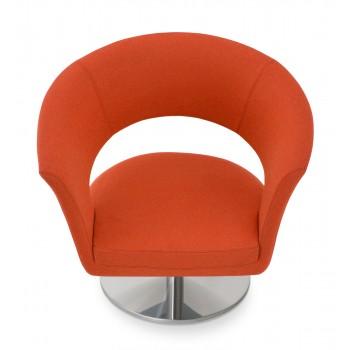 Ada Swivel Round Armchair, Orange Camira Wool by SohoConcept Furniture