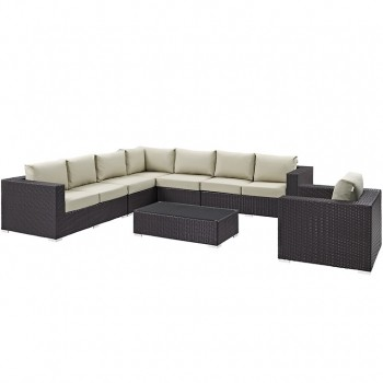 Convene 7 Piece Outdoor Patio Sectional Set, Сomposition 2,Espresso, Beige by Modway