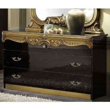 Barocco Single Dresser, Black + Gold