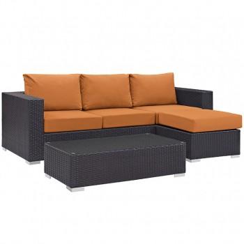 Convene 3 Piece Outdoor Patio Sofa Set, Espresso, Orange by Modway