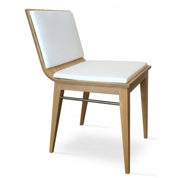 Corona Wood Dining Chair, Original Natural Ash, White Leatherette, Extra Pad by SohoConcept Furniture