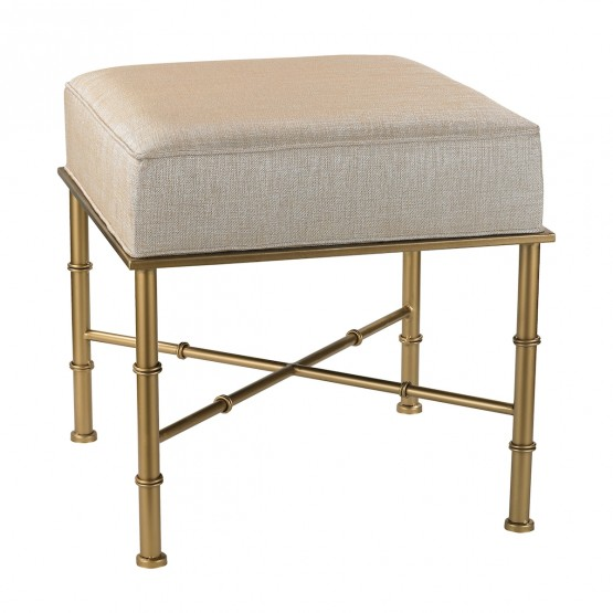 Gold Cane Bench In Cream Metallic Linen photo