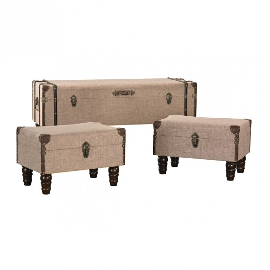 Linen Covered Travelers Trunk - Set of 3 photo