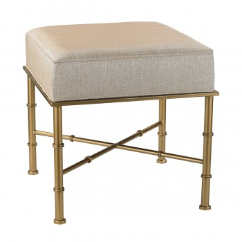 Gold Cane Bench In Cream Metallic Linen