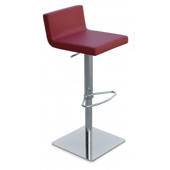 Dallas Piston Stool, Chrome, Red Leatherette, Square Base by SohoConcept Furniture