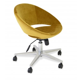Crescent Office Chair, Base A1, Gold Velvet by SohoConcept Furniture