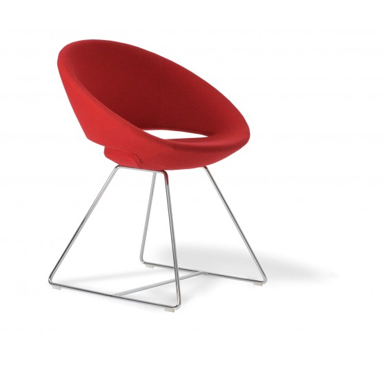 Crescent Wire Chair, Chrome, Red Wool photo