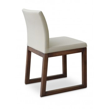 Aria Sled Wood Dininng Chair, Solid Beech Walnut Finish, Bone Fabric by SohoConcept Furniture