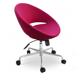 Crescent Office Chair, Base A3, Pink Wool by SohoConcept Furniture