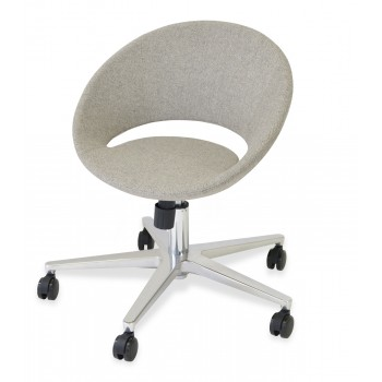 Crescent Office Chair, Base A1, Grey & Cream Camira Wool by SohoConcept Furniture