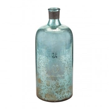 13-Inch Aqua Antique Mercury Glass Bottle