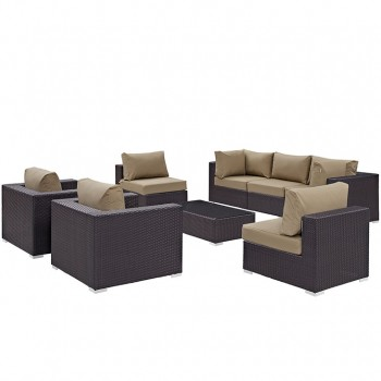 Convene 8 Piece Outdoor Patio Sectional Set, Сomposition 1, Espresso, Mocha by Modway