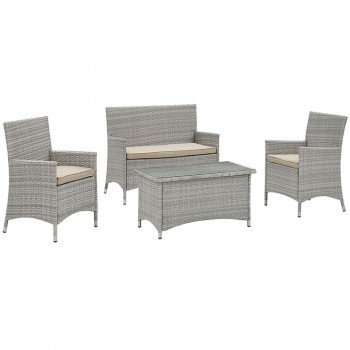 Bridge 4 Piece Outdoor Patio Patio Conversation Set, Light Gray, Beige by Modway
