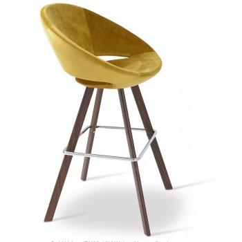 Crescent Sword Bar Stool, Walnut Veneer Steel, Gold Velvet by SohoConcept Furniture