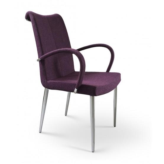 Tulip Chrome Arm Chair, Deep Maroon Camira Wool photo