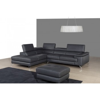 A973 Italian Leather Sectional, Left Arm Chaise Facing, Grey by J&M Furniture