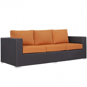 Convene Outdoor Patio Sofa, Espresso, Orange by Modway