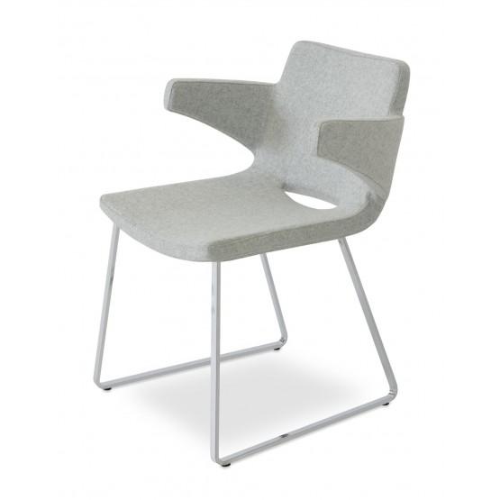 Nevada Arm Flat Chair, Chrome, Silver Camira Wool photo