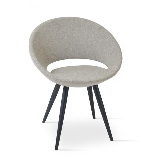 Crescent Star Chair, Black Powder Steel, Grey & Cream Camira Wool photo
