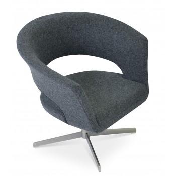 Ada 4 Star Base Armchair, Dark Grey Camira Wool by SohoConcept Furniture