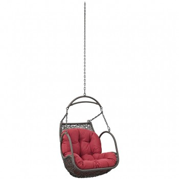 Arbor Outdoor Patio Wood Swing Chair Without Stand, Red by Modway