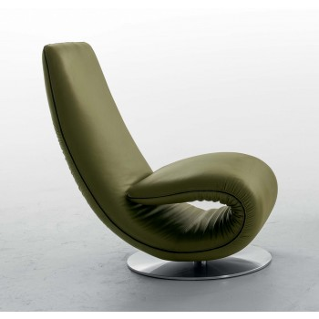 Ricciolo Chaise Lounge, Pine Green Leather