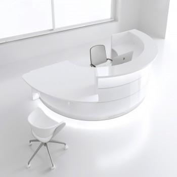 Valde LAV08L Reception Desk, High Gloss White