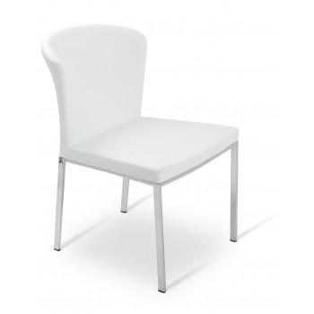 Capri Chrome Dininng Chair, White PPM by SohoConcept Furniture