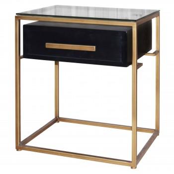 Firenze Floating End Table w/1 Drawer, Gold Frame, Espresso