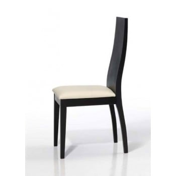 4015 Dining Chair, Black Base, Beige Upholstery