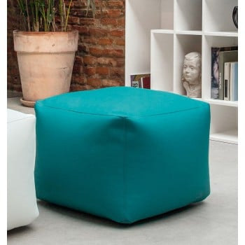 Truly Small Pouf, Turquoise Blue Eco-Leather