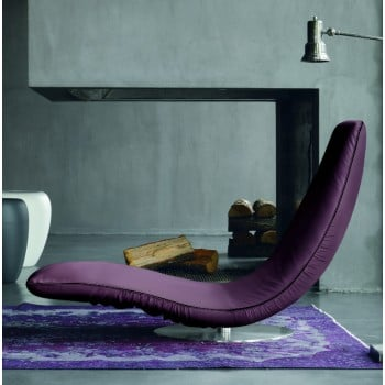 Ricciolo Chaise Lounge, Aubergine Purple Eco-Leather