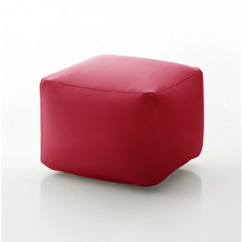 Truly Small Pouf, Red Eco-Leather