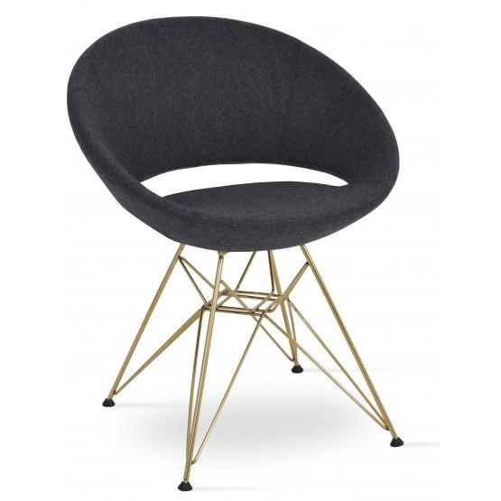 Crescent Tower Chair, Gold Brass, Dark Grey Camira Wool, Large Seat photo