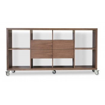 Malta Bookcase With Drawers With Caster, Walnut by SohoConcept Furniture