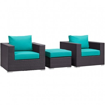 Convene 3 Piece Outdoor Patio Sectional Set, Espresso, Turquoise by Modway