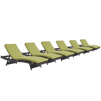 Convene Chaise Outdoor Patio, Set of 6, Espresso, Peridot by Modway
