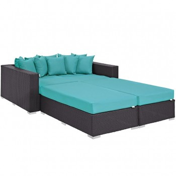 Convene 4 Piece Outdoor Patio Daybed, Espresso, Turquoise by Modway