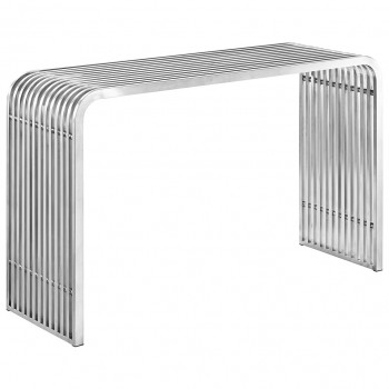 Pipe Stainless Steel Console Table, Silver by Modway