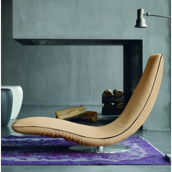 Ricciolo Chaise Lounge, Cream Eco-Leather