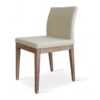 Aria Wood Dininng Chair, Solid Beech Walnut Color, Bone Fabric by SohoConcept Furniture