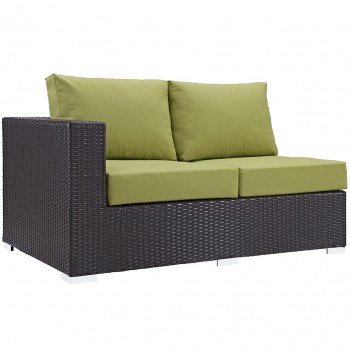 Convene Outdoor Patio Left Arm Loveseat, Espresso, Peridot by Modway