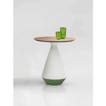Amira Side Table, Matt White and Green Sage Ceramic Base, Natural Oak Wood Top