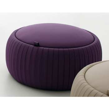 Plisse Small Pouf, Aubergine Purple Eco-Leather