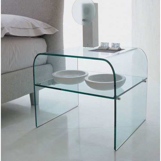 Anemone Side Table with Clear Transparent Glass Shelf, Clear Transparent photo