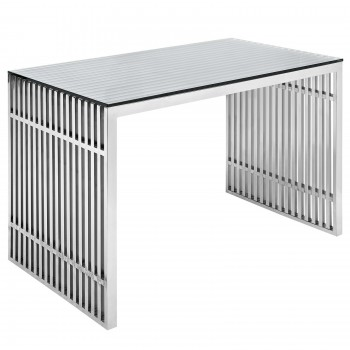Gridiron Stainless Steel Desk B, Silver by Modway
