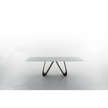 Arpa Fixed Dining Table, Canaletto Walnut Wood Base, Extra Clear White Glass Top