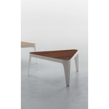 Adele Coffee Table, Matt White Metal Base, Canaletto Walnut Wood Top