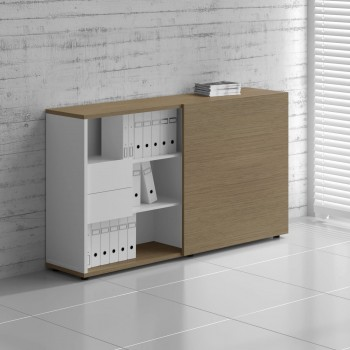 Managerial Storage ZS03, White + Canadian Oak