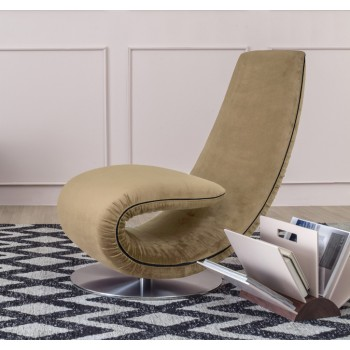 Ricciolo Chaise Lounge, Camel Grey Vega Velvet